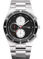 Bering Men's Solar Chronograph Black Dial Stainless Steel Watch 34440-702