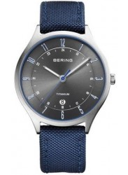 Bering Men's Titanium Grey Dial Blue Fabric Watch 11739-873