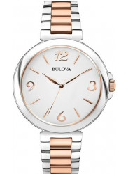 Bulova Women's White Dial Two-Tone Watch 98L195