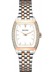 Bulova Women's White Dial Two Tone Watch 98R200
