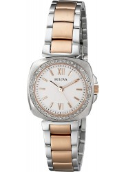 Bulova Women's Diamond White Dial Two Tone Stainless Steel Watch 98R206