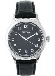 Bulova Men's Black Dial Black Leather Strap Watch 96B233