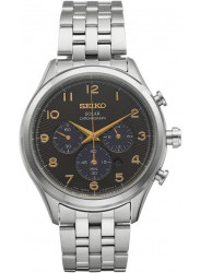 Seiko Core Solar Men's Chronograph Black Sunray Dial Stainless Steel Watch SSC563