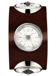 Calvin Klein Women's Silver Dial Brown Leather Watch K4623120