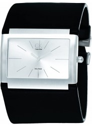 Calvin Klein Women's CK Rectangular Silver Dial Black Leather Watch K5911126