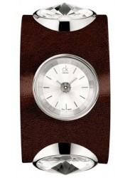 Calvin Klein Women's Silver Dial Brown Leather Watch K4623120