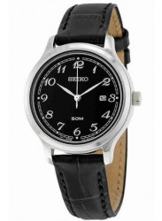 Seiko Women's Black Leather Black Dial Watch SUR773