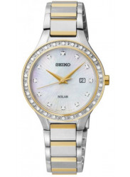 Seiko Women's Solar Diamond Mother Of Pearl Dial Watch SUT136