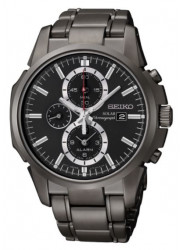 Seiko Men's Solar Black Dial Chronograph Watch SSC095