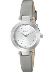 DKNY Women's Stanhope Silver-White Dial Grey Leather Watch NY2456