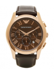Emporio Armani Men's Chronograph Brown Leather Watch AR1701
