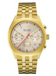 Bulova Men's Chronograph Silver Dial Gold Tone Watch 97B150