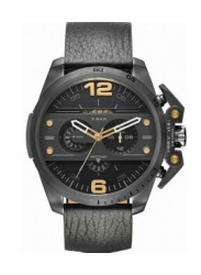 Diesel Men's Ironside Chronograph Black Leather Watch DZ4386