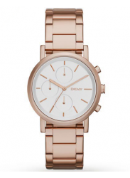 DKNY Women's Soho Silver Dial Rose Gold Tone Watch NY2275
