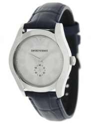 Emporio Armani Men's Silver Dial Blue Leather Watch AR1668