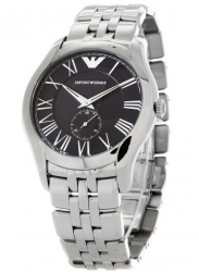 Emporio Armani Men's Black Dial Stainless Steel Watch AR1706