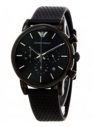 Emporio Armani Men's Chronograph Black Leather Watch AR1737