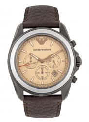 Emporio Armani Men's Chronograph Brown Leather Watch AR6070