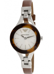 Emporio Armani Women's White Dial Brown Leather Watch AR7392