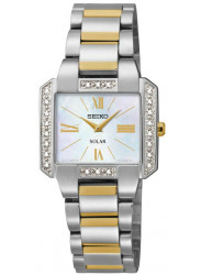 Seiko Women's Solar Mother of Pearl Dial Two Tone Watch SUP239