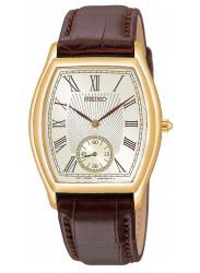 Seiko Men's Champagne Dial Brown Leather Strap Watch SRK008