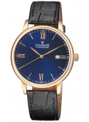 Charmex Men's Amalfi Blue Dial Black Leather Watch CX-30341
