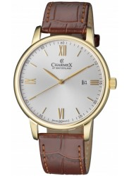 Charmex Men's Amalfi Silver Dial Brown Leather Watch CX-3026