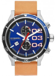 Diesel Men's Double Down Chronograph Blue Dial Brown Leather Watch DZ4322