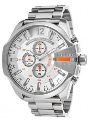 Diesel Men's Mega Chief Chronograph White Dial Stainless Steel Watch DZ4328