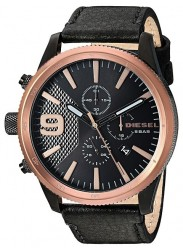 Diesel Men's Rasp Chronograph Black Dial Black Leather Watch DZ4445