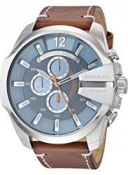 Diesel Men's Mega Chief Chronograph Blue Dial Brown Leather Watch DZ4458