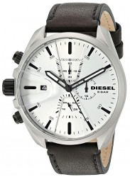 Diesel Men's MS9 Chronograph White Dial Black Leather Watch DZ4505