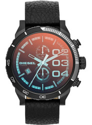 Diesel Men's Double Down Chronograph Orange Dial Black Leather DZ4311