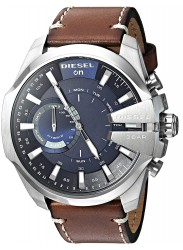 Diesel Men's Mega Chief Hybrid Blue Dial Brown Leather Smartwatch DZT1009