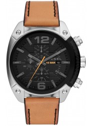 Diesel Men's Overflow Chronograph Black Dial Brown Leather Watch DZ4503