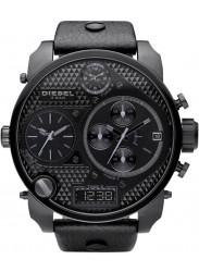 Diesel Men's Chronograph Black Dial Black Leather Watch DZ7193