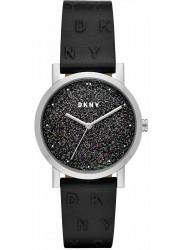 DKNY Women's Soho Black Glitter Dial Black Leather Watch NY2775