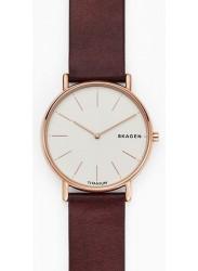 Skagen Men's Signatur Slim Titanium White Dial Red Leather Watch SKW8600