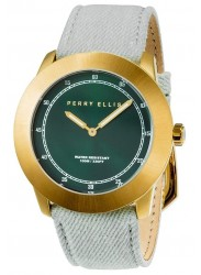 Perry Ellis Unisex New Slim Line Green Sunray Dial White Denim Strap Watch 11003-05