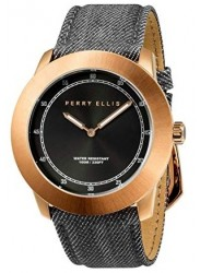 Perry Ellis Unisex New Slim Line Black Sunray Dial Grey Denim Strap Watch 11002-05