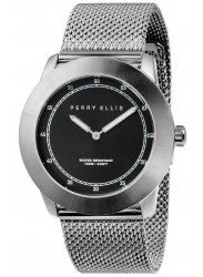 Perry Ellis Unisex New Slim Line Black Sunray Dial Stainless Steel Watch 11002-04