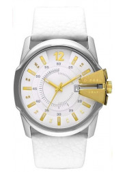 Diesel Men's Oversized White Dial Leather Watch DZ1476