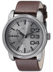 Diesel Men's Not So Basic Gunmetal Dial Brown Leather Watch DZ1467