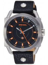 Diesel Men's Black Dial Black Leather Watch DZ1578