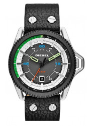 Diesel Men's Rollcage Exposed  Black Leather Watch DZ1717