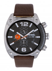Diesel Men's Advanced Chronograph GMT Black Dial Brown Leather Watch DZ4204