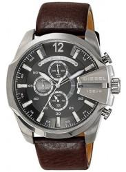 Diesel Men's Mega Chief Black Dial Brown Leather Watch DZ4290