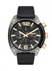 Diesel Overflow Men's Chronograph Black Dial Black Leather Strap Watch DZ4375