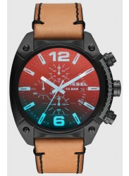 Diesel Overflow Men's Iridescent Lens Black Dial Brown Leather Watch DZ4482