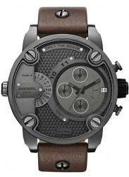 Diesel Men's Chronograph Grey Dial Brown Leather Watch DZ7258